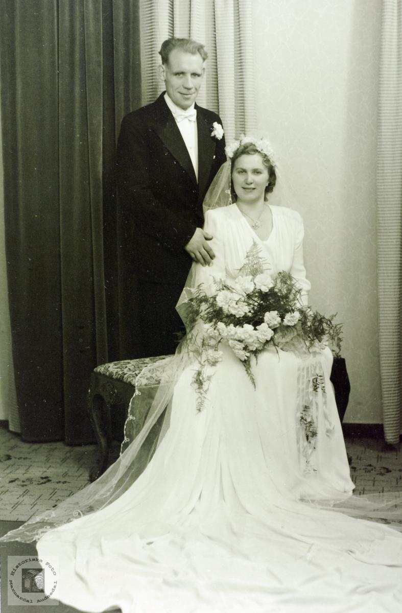 Brudebilde av Notto og Maria Hagen. Grindheim Audnedal.