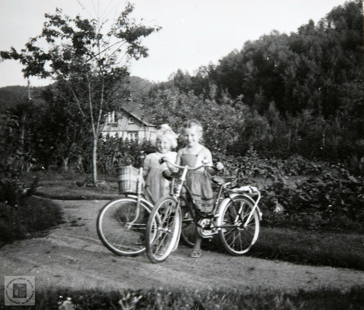 Viblemo barn på sykkeltur. Konsmo Audnedal.