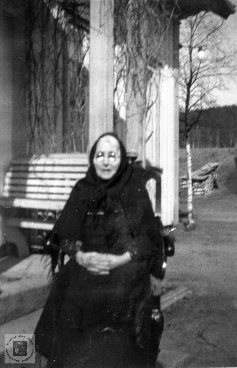 """Portrett av """"Bestemor"""" Kari Abelsæth, Bjelland."""