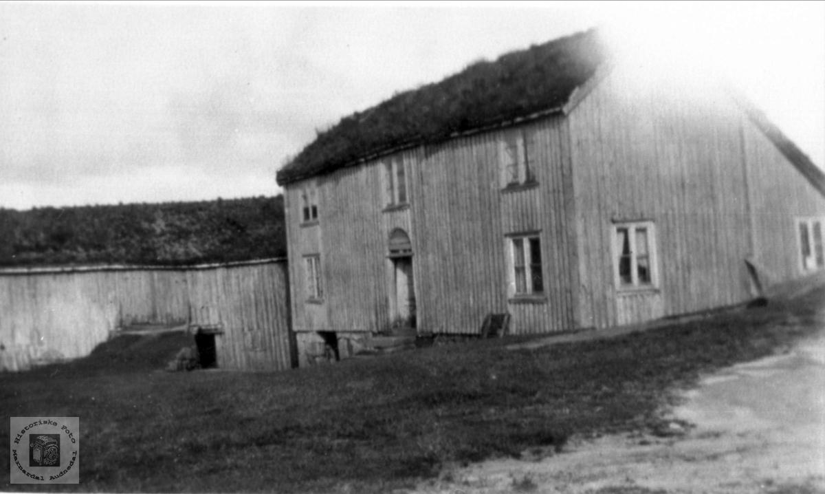 Tunet på Solberg i Bjelland før husa blei revet.