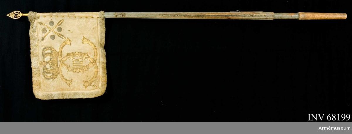 Kompanistandar vid Livregementet, Karl XII:s tid. Troligen tillverkad av Olof Hoffman.   Duk: Tillverkad av enkel, gulrosa(?) sidendamast. Duken fäst med två rader tennlickor på ett beigefärgat band.   Dekor: Målad omvänt lika på båda sidor krönt dubbelt C, varinom XII i brunskuggat guld. I övre, inre hörnet två korslagda pilar med spetsar och styrfjädrar i silver, åtföljda av fyra i vinklarna ställda rosor i silver.   Frans: Dubbel silkesfrans, gulrosa (?).  Stång: Tillverkad av trä, kannelerad, gråmålad, avsågad. Löpande bärring. Holk och spets av förgylld mässing med krönt dubbelt C.