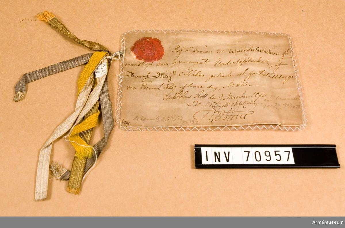 Grupp C.I. Prov å snören till utmärkelsetecken för manskap som genomgått underbefälsskola, av Kungliga Maj:t i nåder gillade och fastställda genom generalorder nr 610 den 9. november 1870.