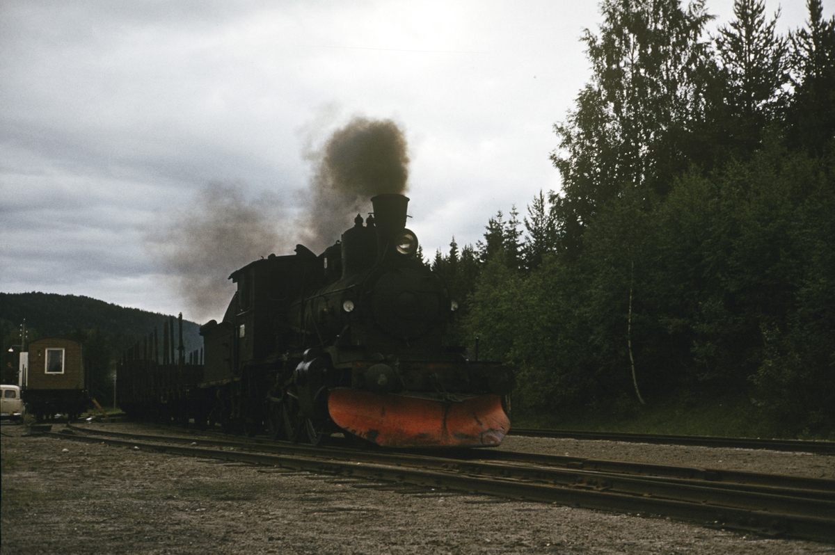 Godstog på Numedalsbanen på Lampeland stasjon, trukket av damplok 21b nr. 225.