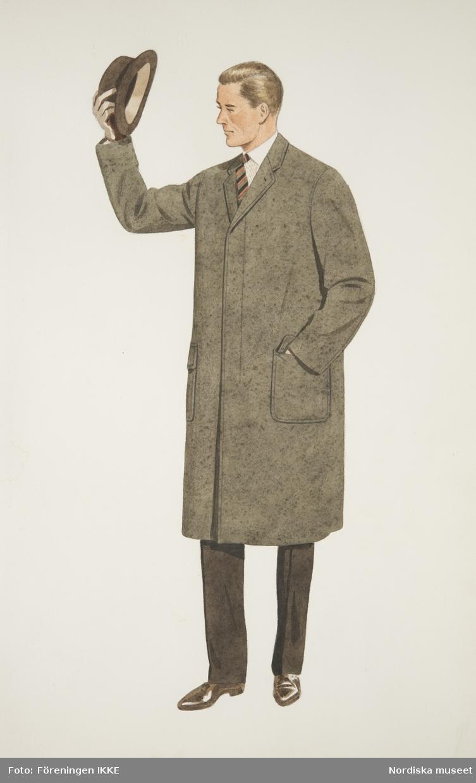 Modeteckning av man i gråbrun rock, randig slips, bruna byxor och bruna, blanka skor, lyfter på hatten. Nordiska Kompaniets engelska herrskrädderi.