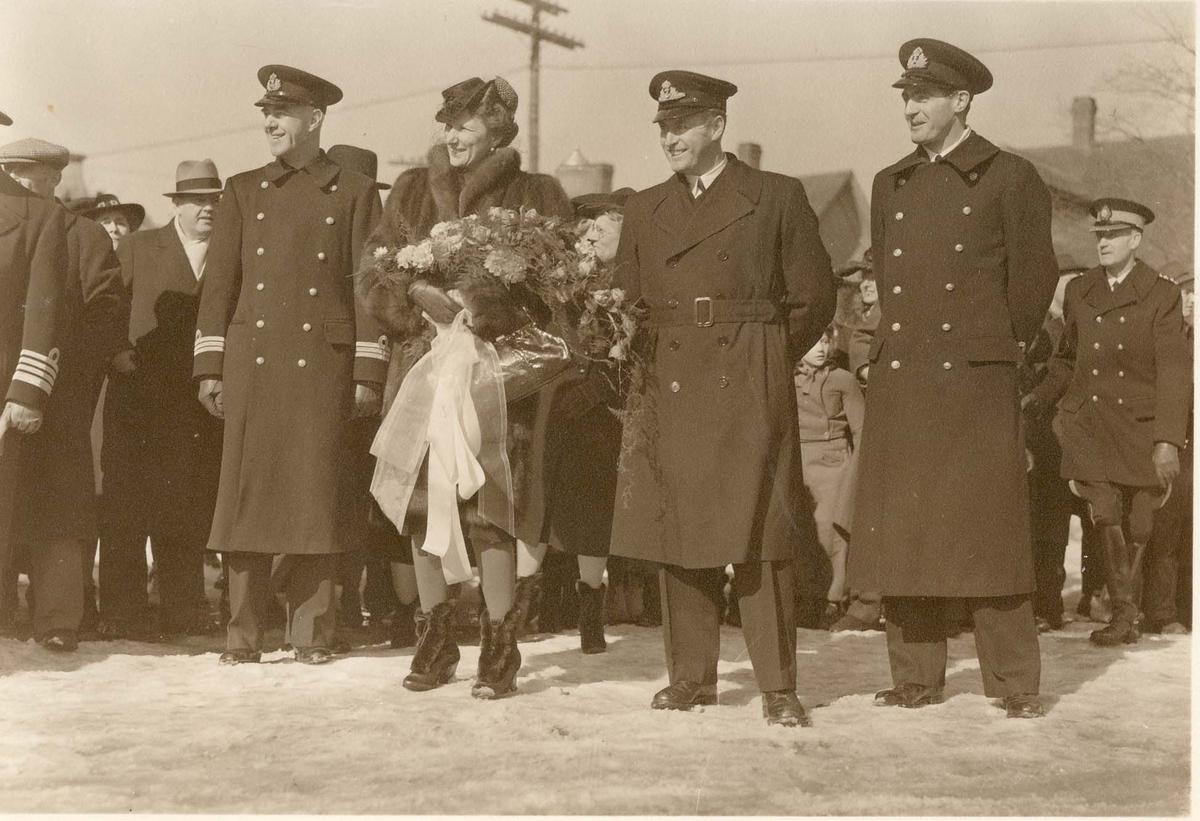 Motiv: Sjøforsvarets skytterskole Camp Norway, Kronprinsesse Marhta på besøk 1941