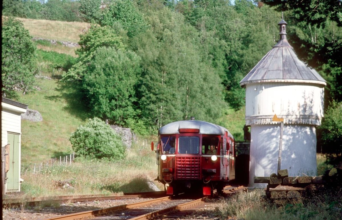 Tog Flekkefjord - Sira kjører inn på Flikkeid stasjon. NSB motorvogn BM 87 07