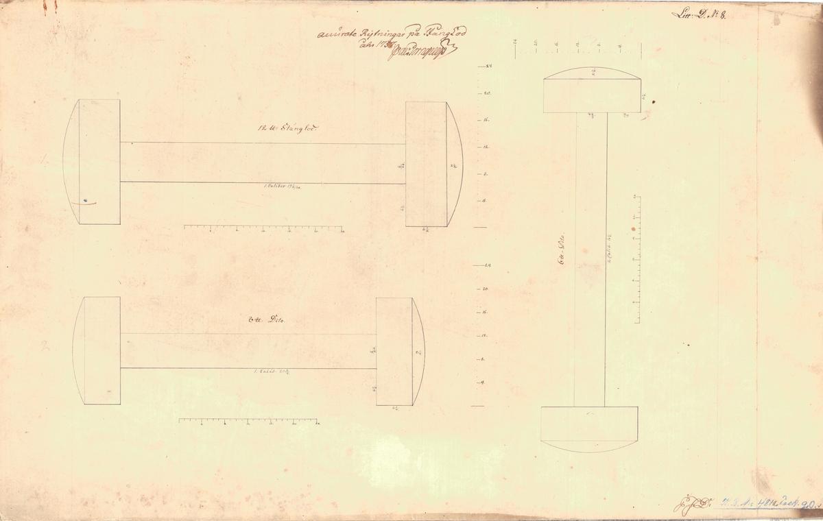 2 ritningar på stånglod, 24, 18, 12 och 6 pund