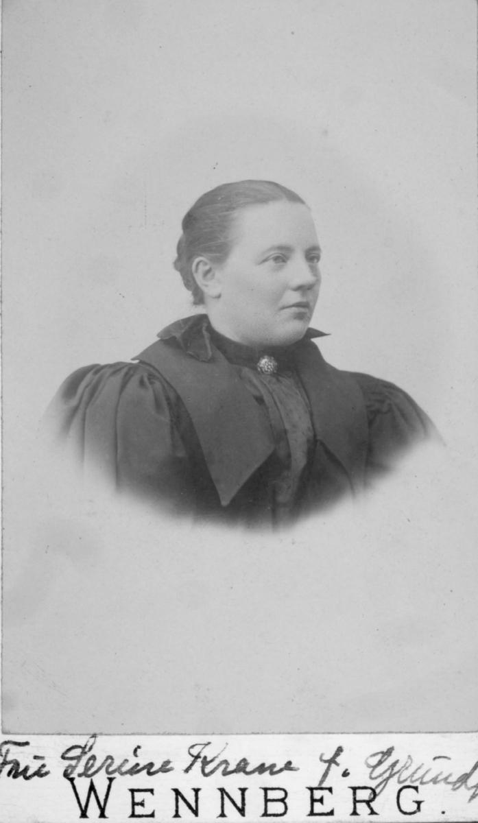 Portrett av en kvinne - Serine Christine Frederikke Krane. Hun var gift med væreier Albrekt Leonard Krane, Breivik på Sørøya. Paret hadde ni barn