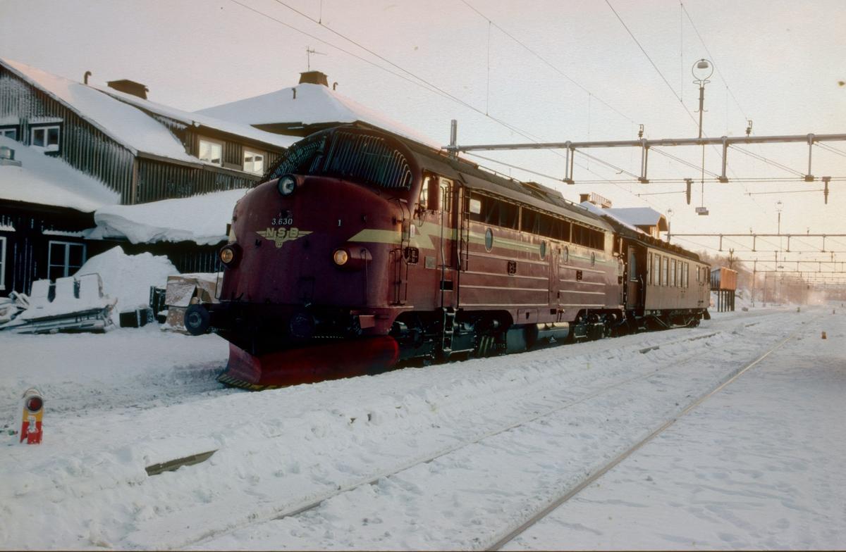 NSBs persontog 424 til Trondheim på Storlien stasjon. På grunn av store forsinkelser ventet man ikke på vognene fra Stockholm.