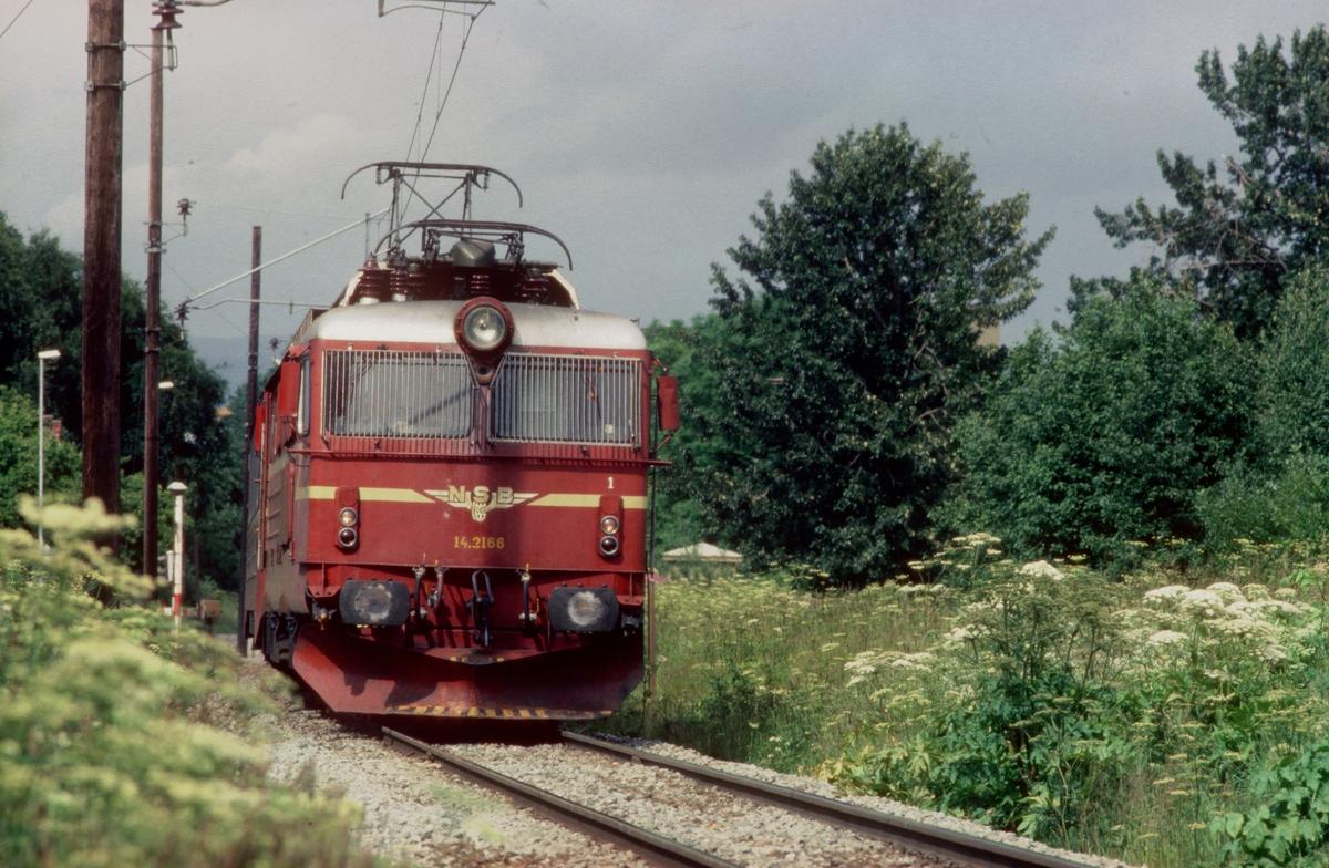 """NSB ekspresstog 44 """"Dovresprinten"""" med elektrisk lokomotiv El 14 2166 ved Stavne."""