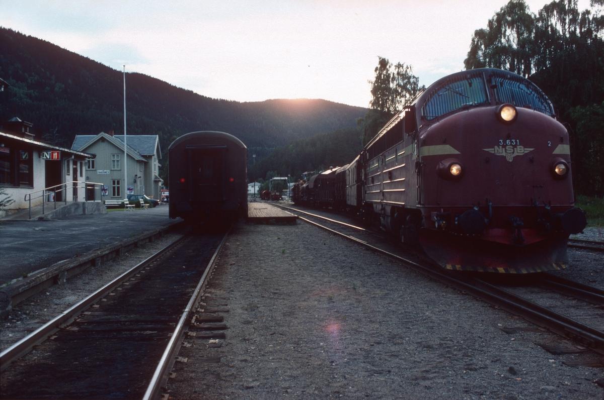 Godstog 5182 til Eina står klar på Fagernes stasjon med NSB Di 3 631.