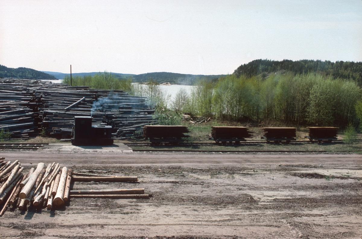 Tog på bruksbanen til Saugbrugs, Halden, (Norske Skog Saugbrugs). Normalspor. Diesellokomotiv Deutz type OMZ122F, byggenummer 46499 - bygget 1942. Opprinnelig 600mm sporvidde. Bildet er tatt fra lokomotivet på et godstog på Østfoldbanen.