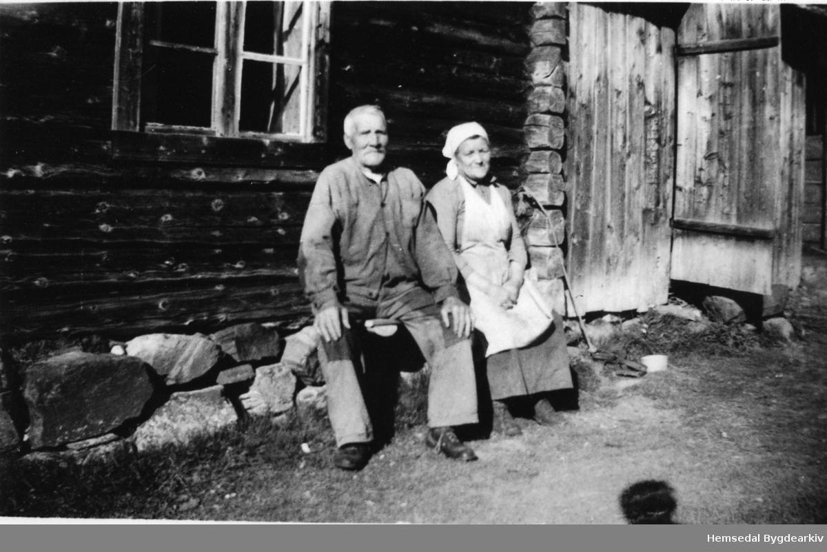 Ola og Anne Solheim ved stølsbua til garden Teigen,61.3, i Hemsedal der Anne var budeie.