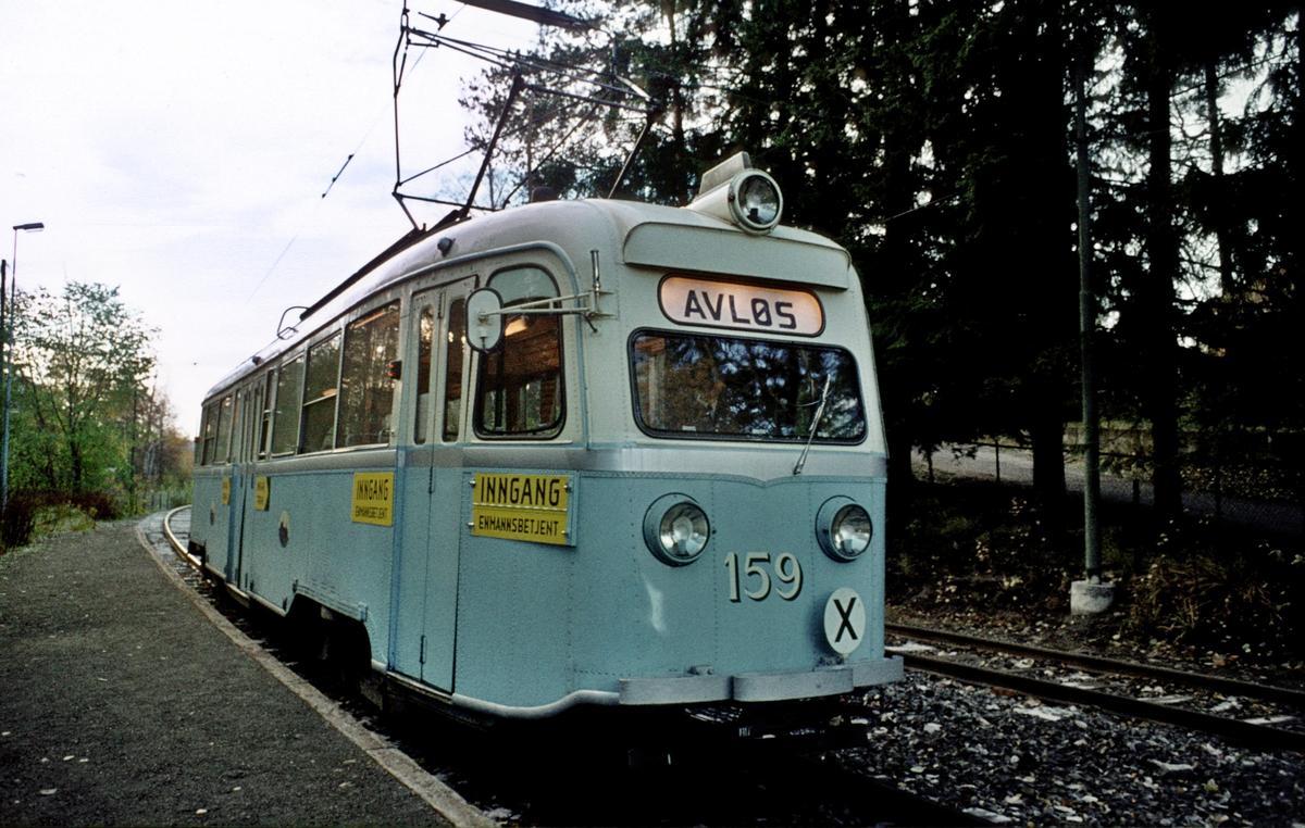 Oslo Sporveier. Gullfisk E 159 i rute 9 til Avløs på Øraker.