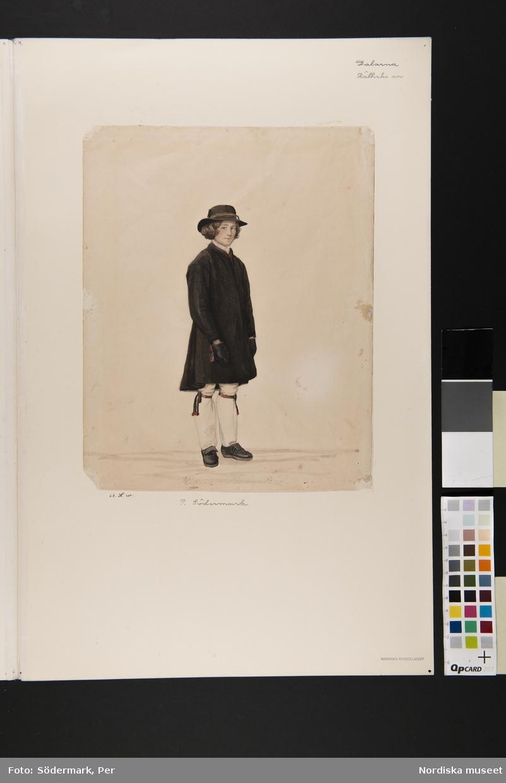Pojke i Rättviksdräkt, söndagsdräkt. Akvarell av P.Södermark.