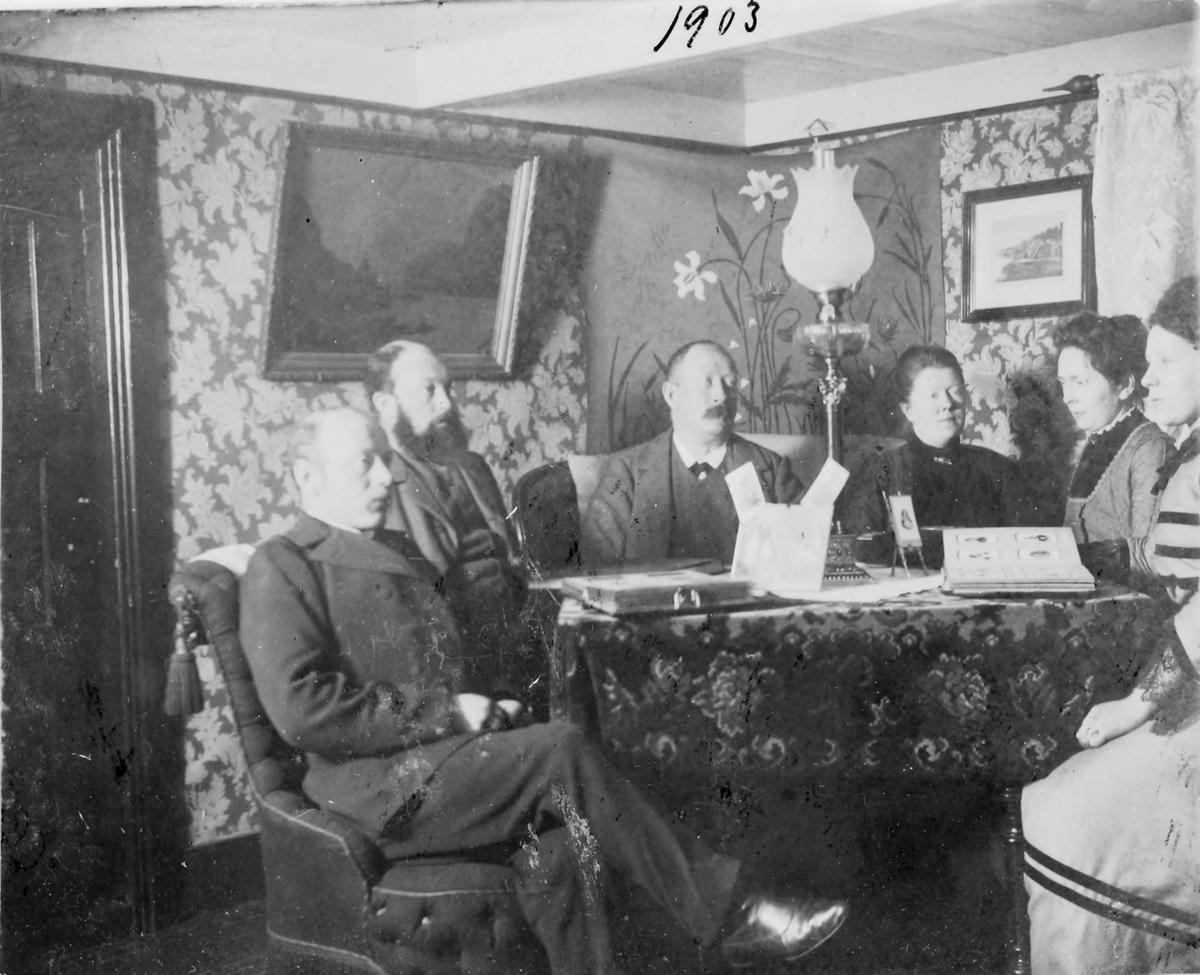 Gruppebilde i familien Ohlsens stue fotografert i 1903. Fra venstre: handelsmann Karl Oluf Ohlsen, to ukjente menn, fru Karoline Ohlsen, to ukjente kvinner. På bordet ligger det fotoalbum og det er stilt opp flere innrammede bilder.  Handelsmann Karl Oluf Ohlsen som opprinnelig kom fra Namdalen. På bordet ligger oppslåtte fotoalbum og  flere innrammede bilder står oppstilt på bordet.