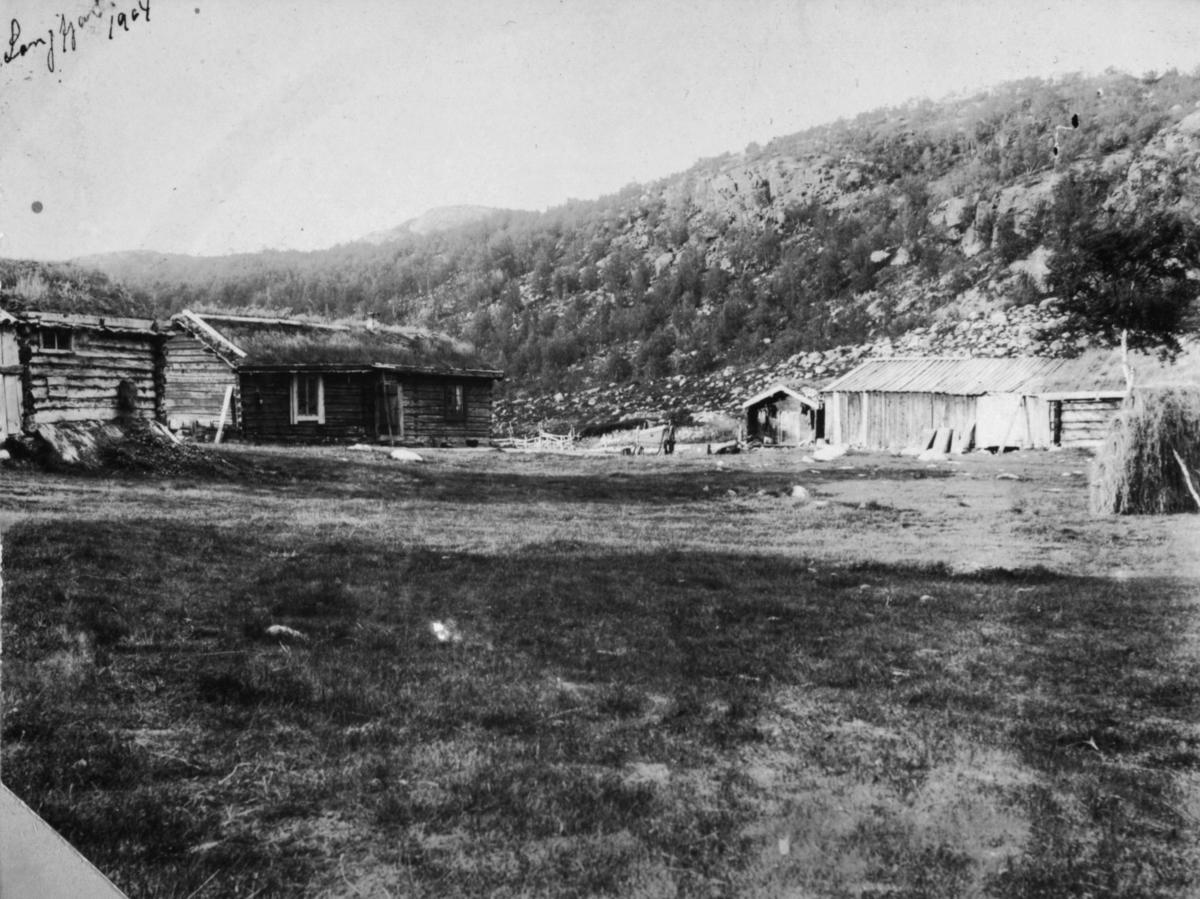 Langfjord 1904. Fjelltoppen i bakgrunnen er Saviofjellet.
