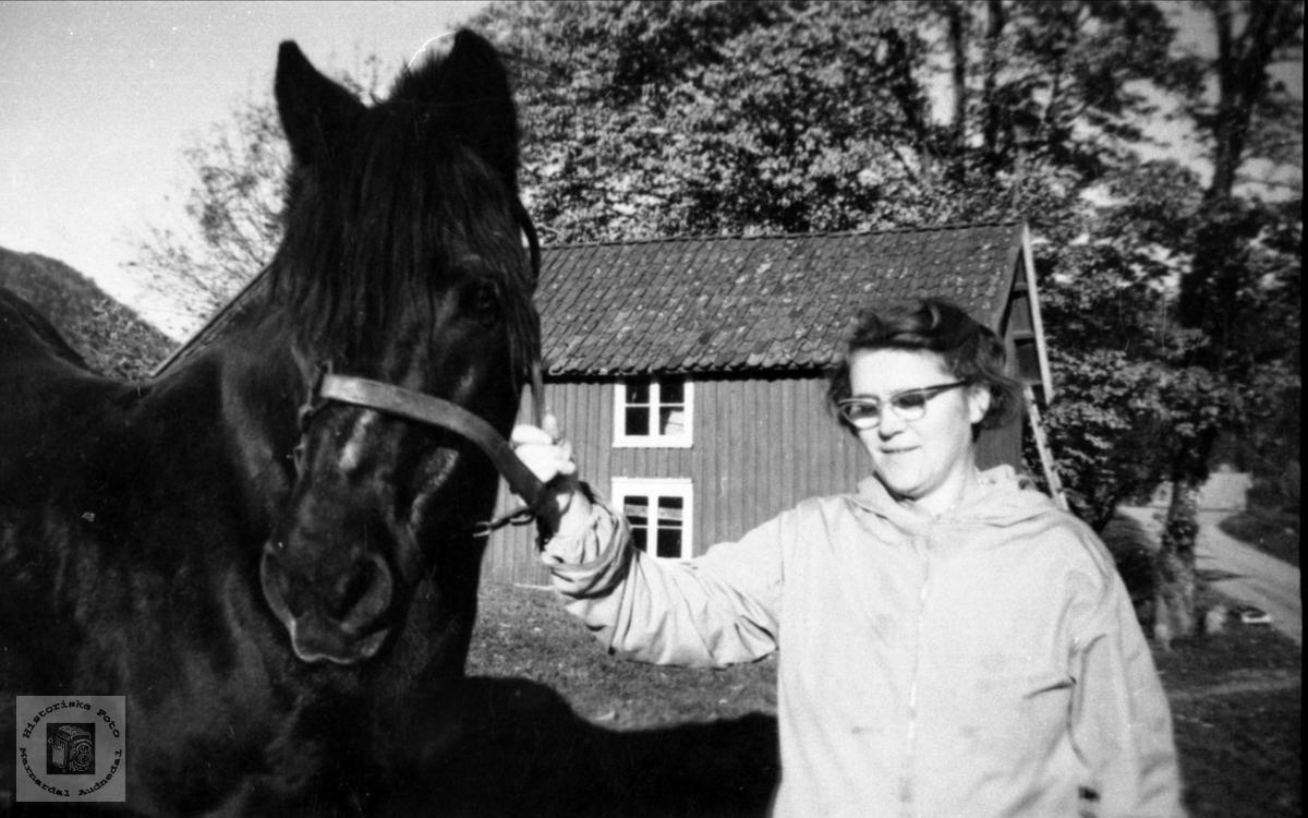 Karen Follerås og hesten.
