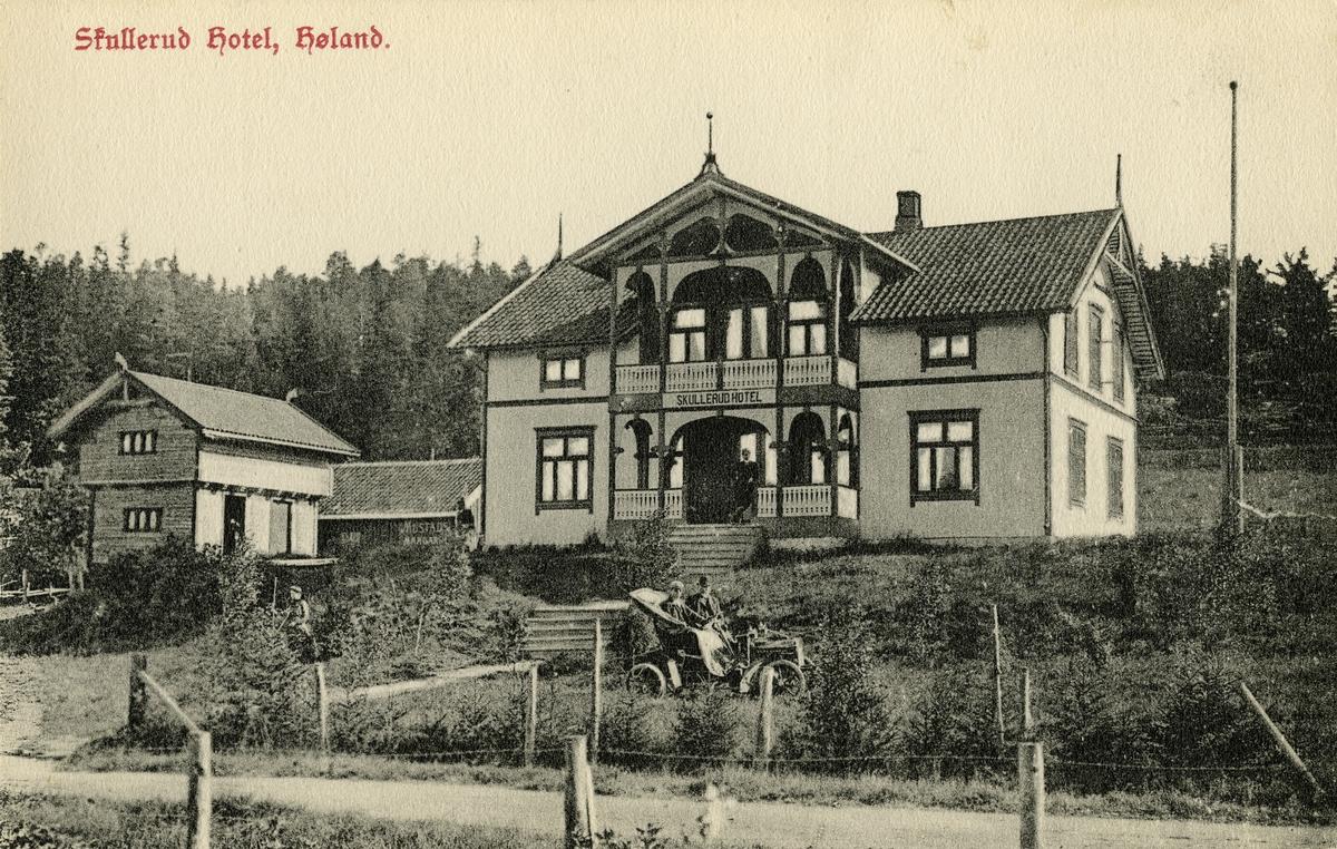 Postkort med teksten: Skullerud hotel, Høland.