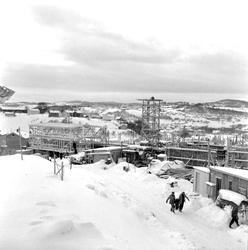 Bygging av studentbyen på Berg