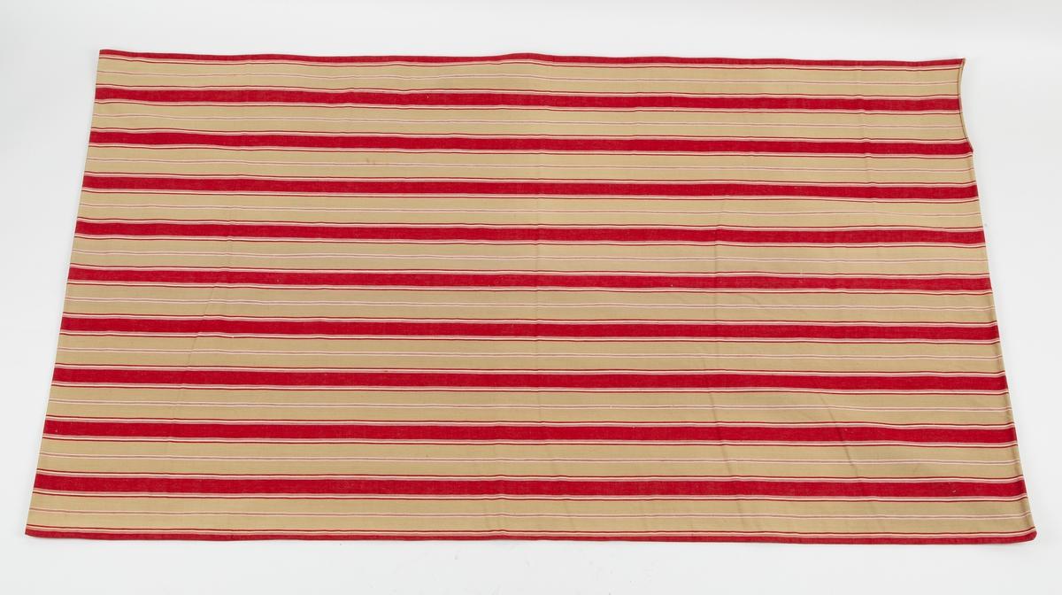Stripemønstret bolster. Røde og naturfarget  i brede striper,  smale hvite striper. Sydd sammen med maskinsøm. Navnebånd AG i et hjørne. ( Amalie eller Anette Gaavim)