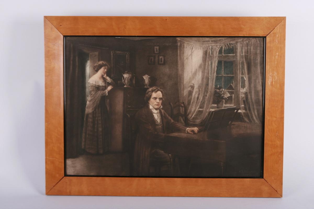 Motivet viser den blinde piken lyttende til en mann (mulig Beethoven) ved flygelet. Piken står i lyset fra måneskinnet som lyser inn gjennom vinduet. Det sies at det stykket Beethoven spilte var Måneskinnssonaten.