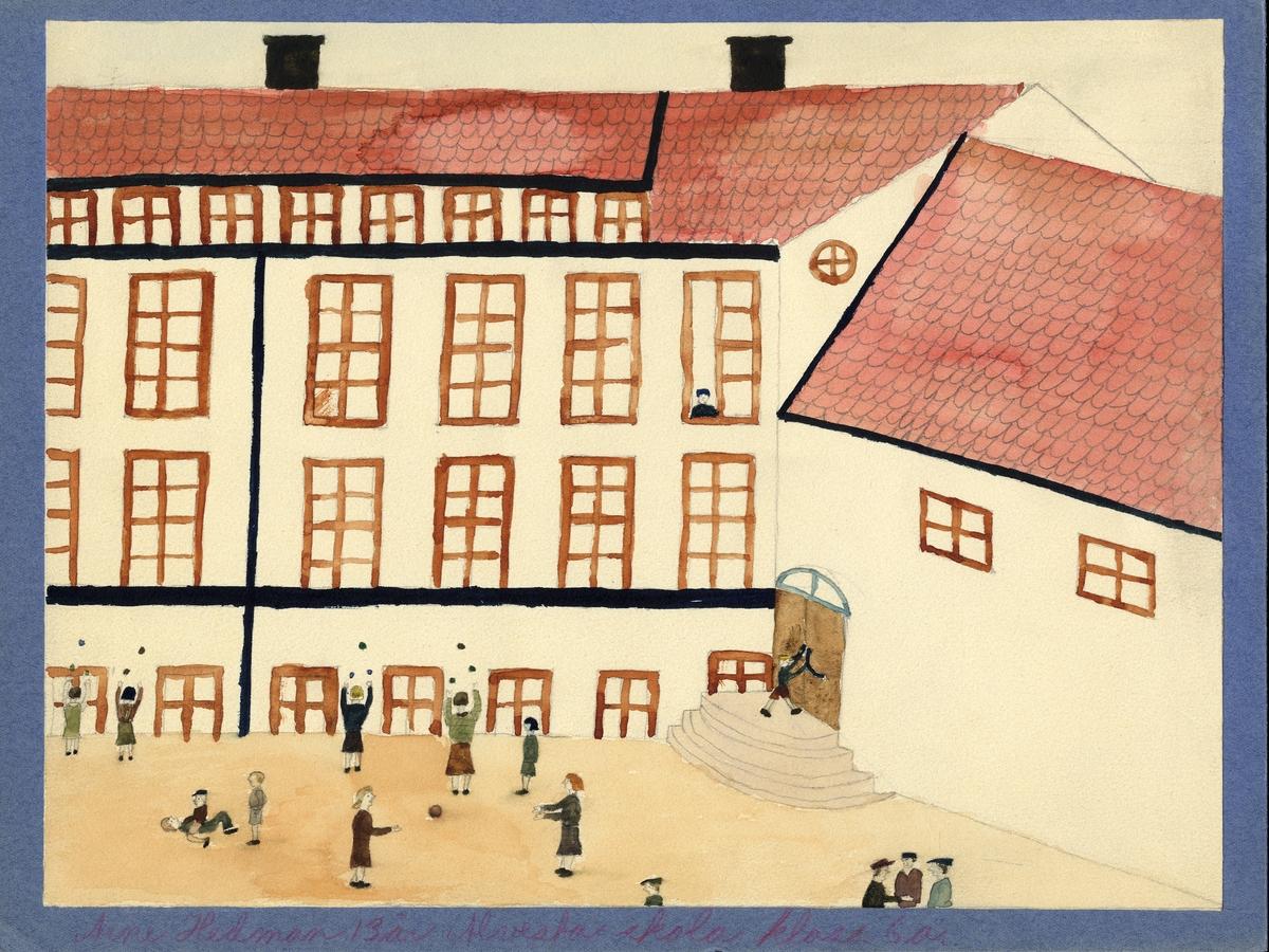 """Barnteckning - akvarell. """"Mitt roligaste skolminne"""". Lek på skolgården.   Arne Hedman, Alvesta, 13 år.   Inskrivet i huvudbok 1947."""