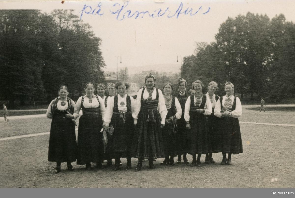 Postkort sendt til Danmark.  Tema er Hamarturen 1936