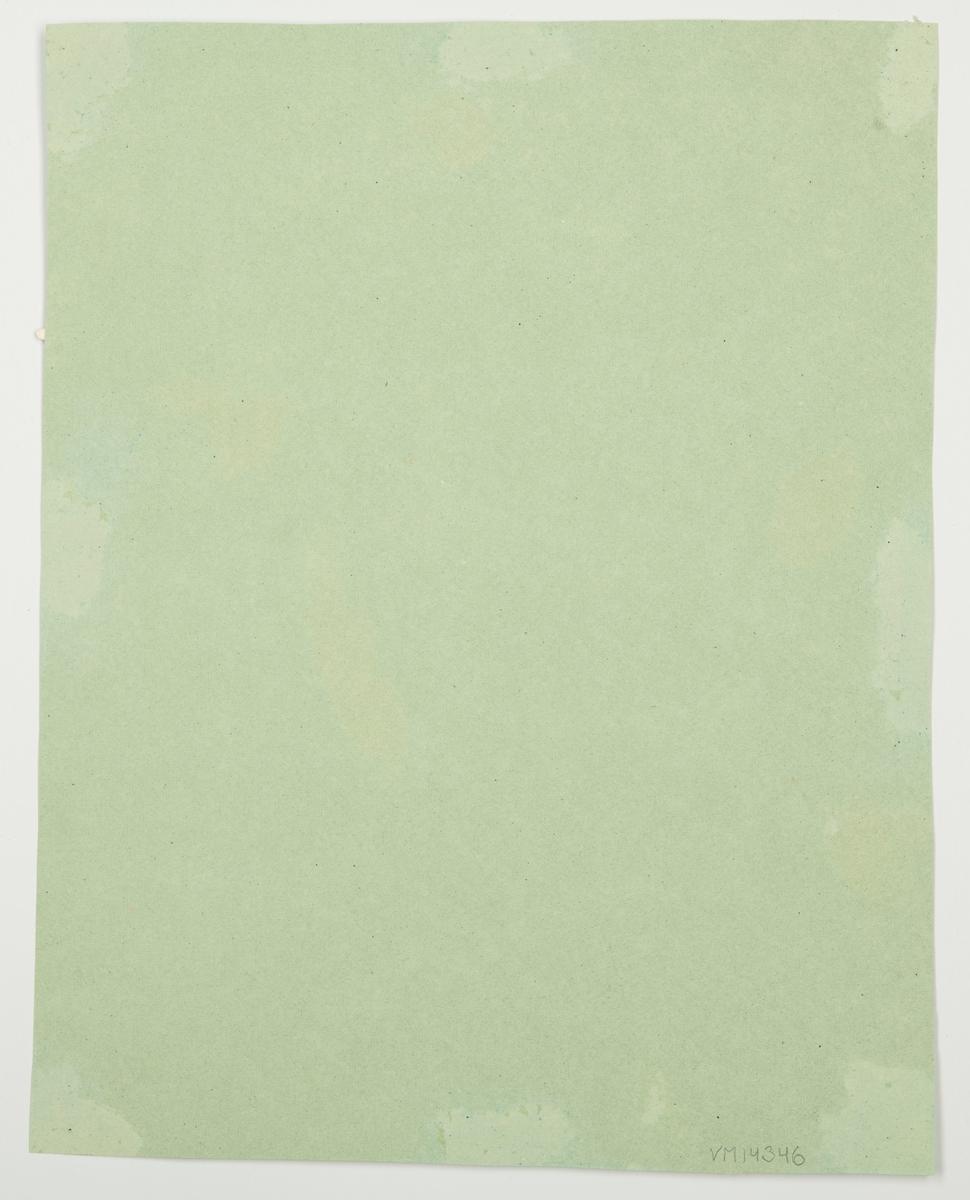 """Montering/ram: Urklippt och uppklistrat på grönt papper. Följande står antecknat i Värmlands Museums accessionsliggare: """"Kvinna svävande i luften bärande en bricka med supglas. Urklippt och uppklistrat på grönt papper.""""."""