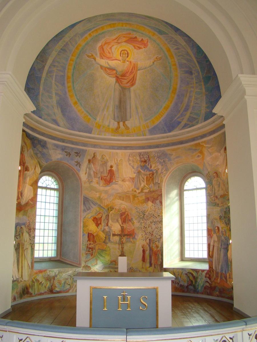 Bankeryds kyrka, Jönköpings kommun. Absidmålning från 1954, målad av Torsten Nordberg.