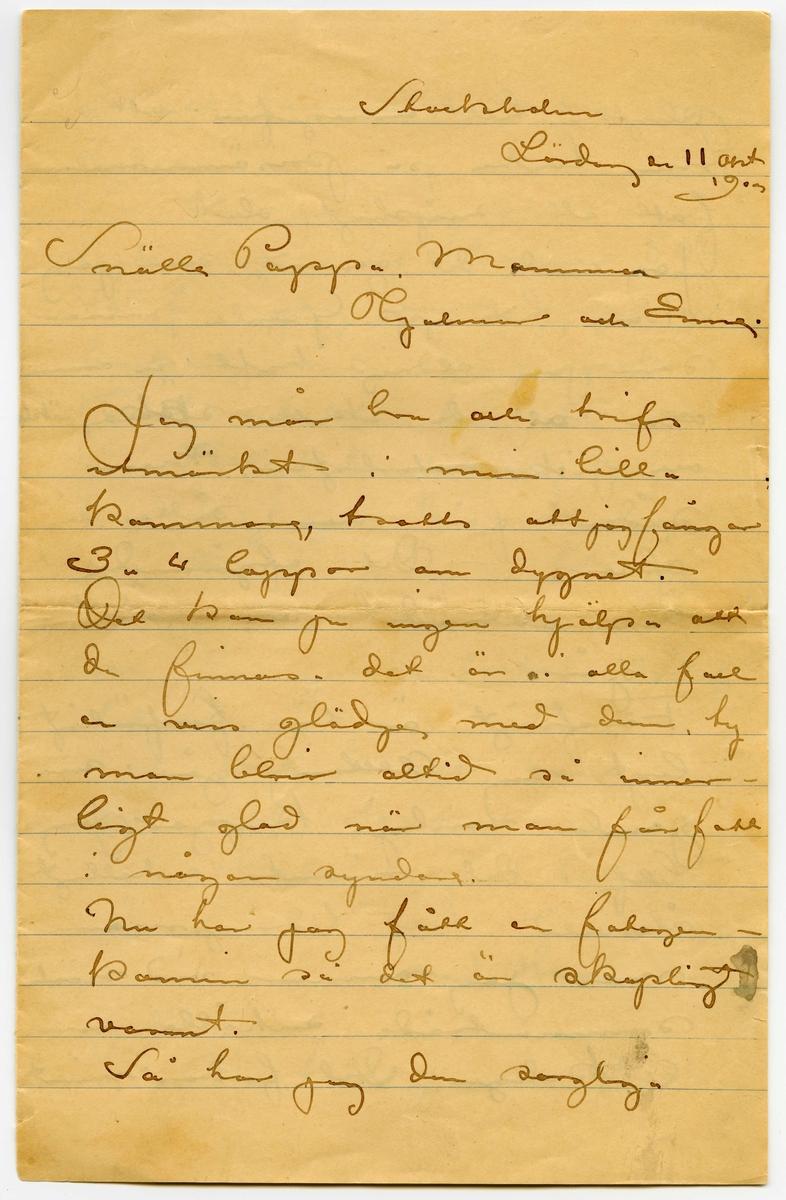 Brev 1903-10-11 från John Bauer till Emma, Joseph, Hjalmar och Ernst Bauer, bestående av fyra sidor skrivna på fram- och baksidan av ett vikt pappersark. Huvudsaklig skrift handskriven med svart bläck.  . BREVAVSKRIFT: . [Sida 1] Stockholm Lördag den 11 okt 1903 Jag mår bra och trifs utmärkt i min lill- kammare, trotts att jag fångar 3 – 4 loppor om dygnet. Det kan ju ingen hjälpa att de finnas. det är i alla fall en viss glädje med dem, ty man blir alltid så inner- ligt glad när man får fatt i någon syndare. Nu har jag fått en fotogen- kamin så det är skapligt varmt. Så har jag den sorgliga . [Sida 2] 2   3 pligten tillkännagifva att min tanke på prisämnesmålning fatt ett snöpligt slut. Jag anade det genast som jag kom hit upp. Gamla prissar som jag aldrig haft en aning om att de skulle [överskrivet : k] söka, sökte och fick naturligtvis. Men sådant får man sätta sig öfver. Det afgörande sammanträdet var först i går. Förofrigt är här förfärligt ligt sig. Allting går i sina gamla vanliga kuggar. Jag blef i det närmsta enhälligt återvald till tidningsman men jag ämnar vid nästa  sammanträde anhålla om 2 koleger. Det fordras minst . [Sida 3] 3 att kunna indrifva några bidrag. Så har jag gjordt 6 små teckningar åt Bonnier, 50 kr. Så har jag varit uppe och  bockat mig för en fröken Kvint, redaktör för Julklappen och Folkets barntidning. Jag vän- tar dagligen [överstruket: b] manuskript för [överstruket: den] tidningen likaså från Barnbiblioteket Saga och Evangeliska fosterlandsstif- telsen. Ja Det är allt hvad jag har att skrifva Hälsningar till alla John. P.S. Ni kan gärna skicka . [Sida 4] min Susannastudie sam- tidigt som mina kläder och tobakspåsen. D.S. Tack ska du ha för kortet Enne!