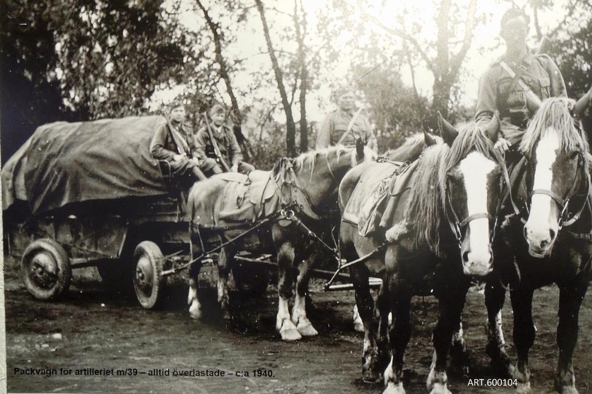 Denna kärr/vagn-typ var standard inom det hästdragna artilleriet. Konstruktionen är mycket smart för användning i terräng och skog samt uppbyggd bakifrån så lågt som möjligt för att underlätta lastning och för att få stort utrymme. Framaxeln är upphängd så att det går lätt att svänga. Den höga sittplatsen är en låda som utnyttjas för förvaring .  Den första modellen kom redan ca 1910. En stor mängd nya och uppgraderade tillfördes inför andra världskriget. En del fick också hjulen bytta till gummihjul.