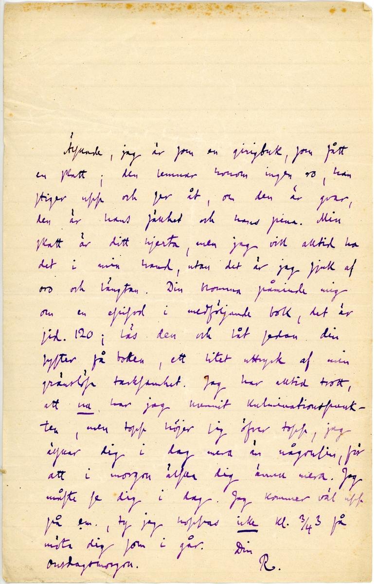 Brev skrivet av Richard Bergström till sin fru Ninni (Ellen) Bergström. Brevet är en sida långt och skrivet i blått bläck. Brevet hittades utan ett kuvert.