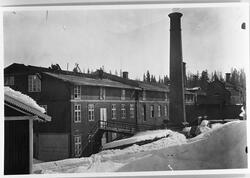 Raufoss Patronfabrikk ca. 1904. Bildet viser den gamle fabri