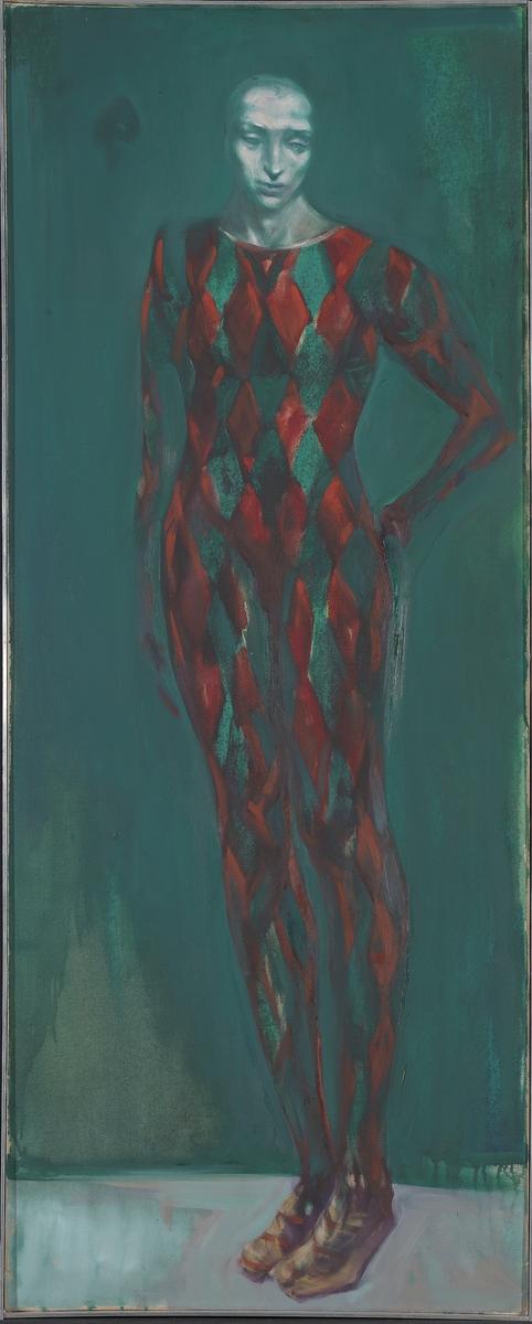 Grønn harlequin [Maleri]