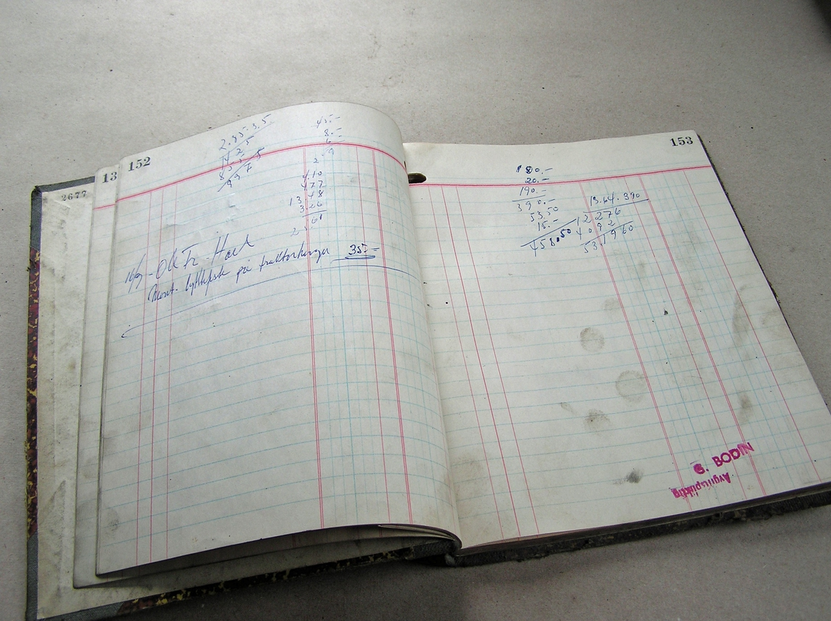 Bok med små arbeidsskisser, sporadiske notater av ordrer.