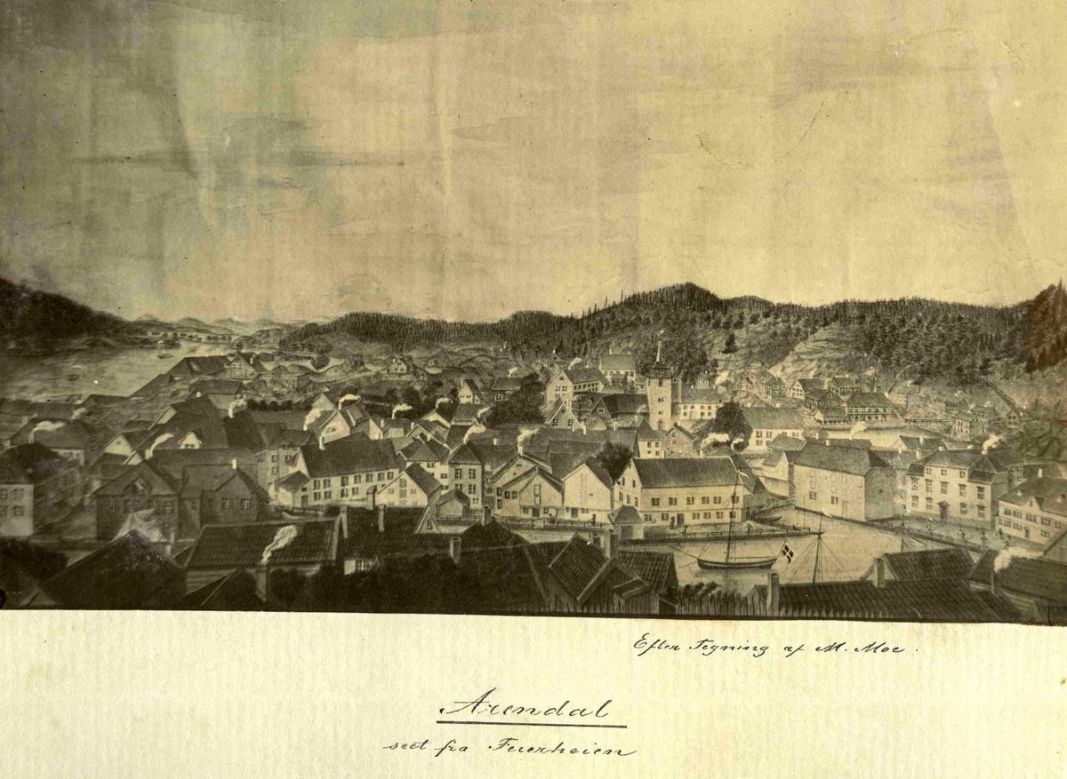 Tegning av Arendal sett fra Feierheia