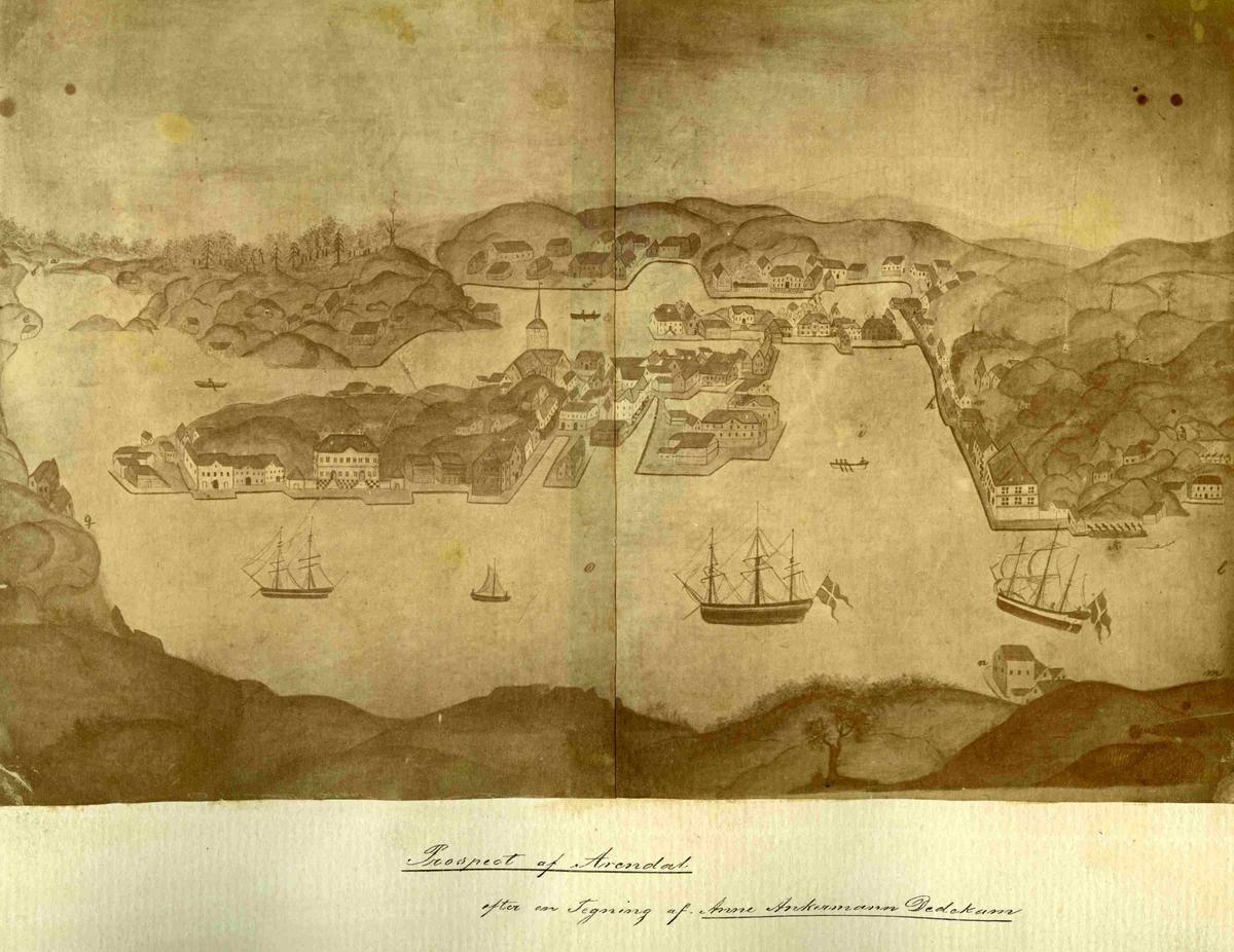 Prospekt av Arendal etter tegning av Anne Ankermann Dedekam