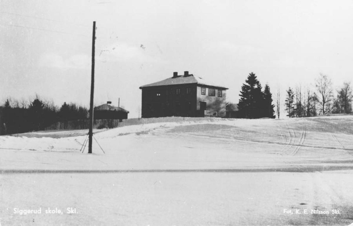 Siggerud skole, bygget av bl.a. Sigurd Bergseng