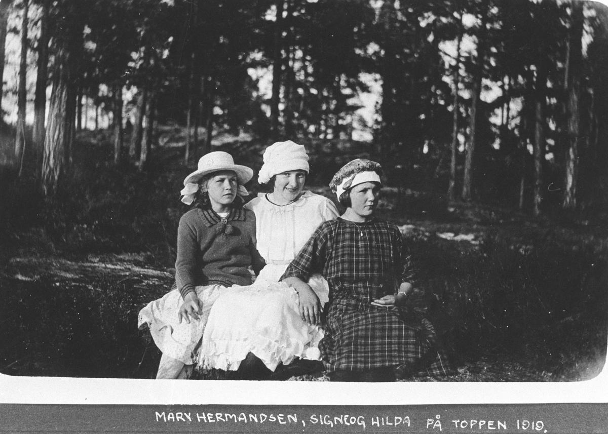 Tre jenter på toppen av Rikeåsen.