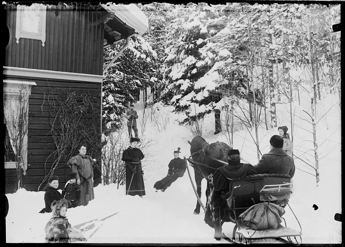 Flere personer ute i vinterlandskap, hest og slede med to personer. Familien Grann-Meyer.