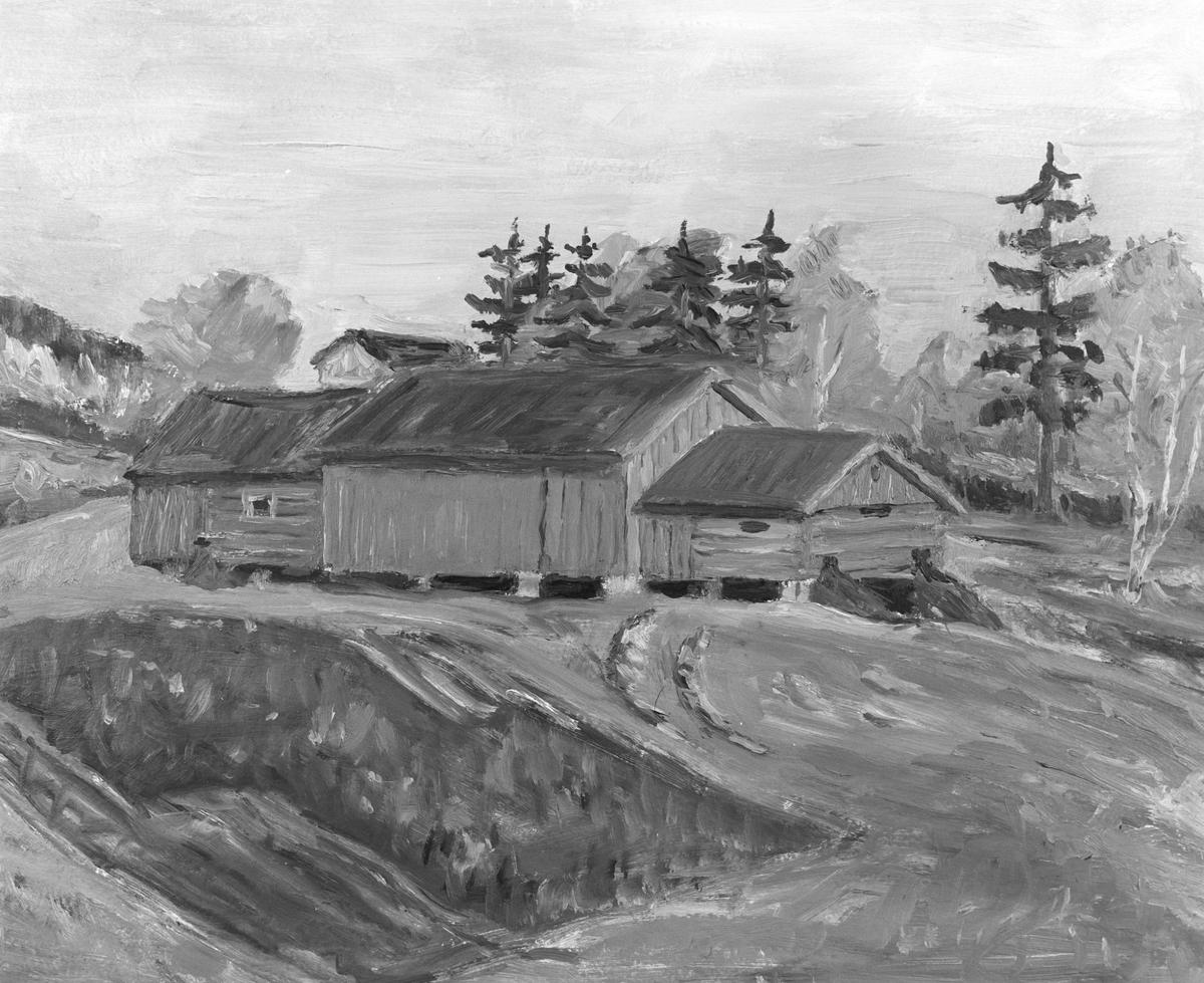 Uthusene på nedre Sætre Møllerstua (maleri)