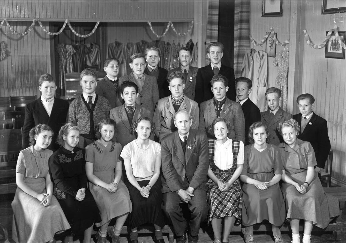 Råholt Framhaldsskole, 1950. Otto Norheim er lærer.