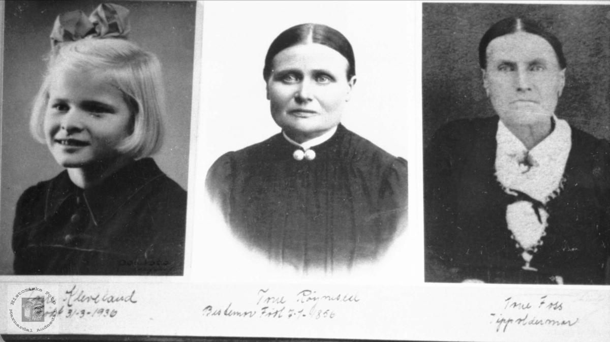 """Portrett av 3 generasjoner """"Tone"""", navnet går i arv med røtter i Grindheim."""