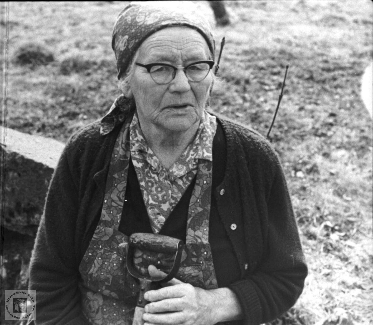 """Portrett av """"Bestemor"""" Johanna Rygnestad, Laudal."""