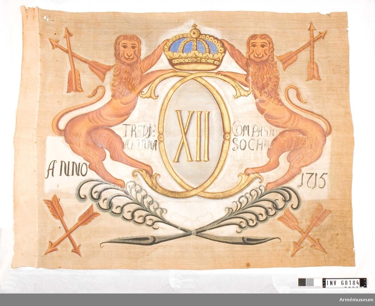 Duk: Tillverkad av enkel linnelärft. Två våder horisontellt sammankastade och kastfållen lagd åt utsidan. Duken fäst vid stången med en rad järntennlickaor på ett smalt vitt linneband.  Dekor: Målad med Carl XII:s namnchiffer, dubbelt C, inom dessa XII på grå botten under sluten kunglig krona, allt i guld. Chiffret är uppburet av två ensvansade gulbruna lejon som står på två korsade och med rosett sammanbundna palmkvistar i blågrått. I hörnen finns två korslagda dalpilar avbildade. Text i svart på ömse sidor om chiffret och utanför lejonen, det är skrivet likadant på båda sidorna av duken.  Stång: Tillverkad av trä. Avsmalnande uppåt. Holk och spets. Holken, förlängning ned på stången.