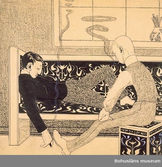 """Tuschteckning daterad 1904. Antecknat med blyerts i nedre kanten: """"Fan hva! man blir slö i den här stan. Den som vore i Paris.  Hva skulle du göra där?  Slöa.""""    Tillkomstort Transstrand.  För uppgifter om konstnären Ragnar Ljungman, se RL001. Montering/ram: Passepartout."""