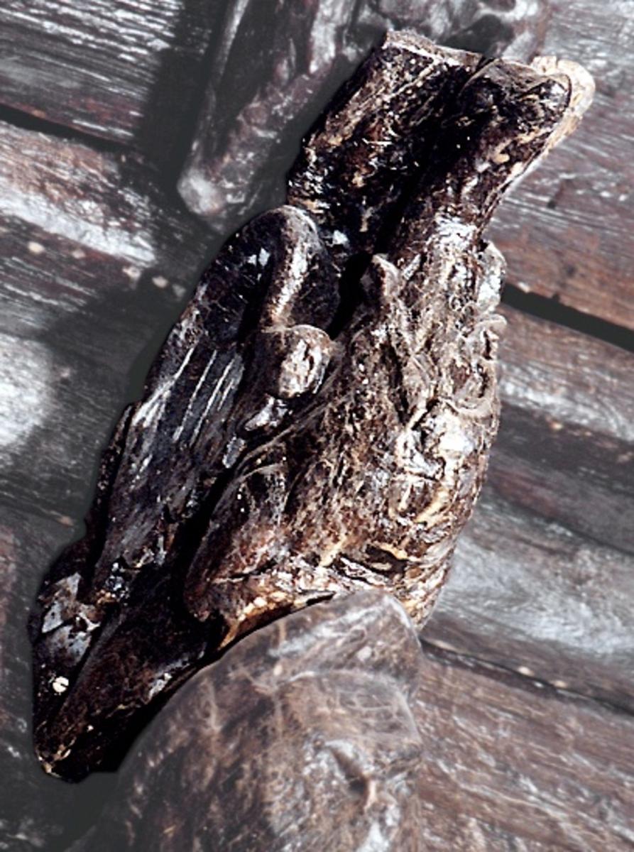 Konsol utformad som en fågel, dubbelsidigt skulpterad utmed de bägge långsidorna. Fågeln har en kort och tjock hals, ett litet huvud samt en spetsig näbb. På huvudet sitter en kamliknande bildning. Benen hålls böjda under kroppen och stjärten är riktad nedåt. De kraftiga vingarna tycks vara lyfta till hälften. Kring halsen sitter ett halsband.  Större delen av skulpturens över- och undersida samt den smala baksidan upptas av anliggningsytor. Vinkeln mellan baksida och översida markeras av ett stort halvrunt urtag. Bröstpartiet är slitet. Längs vänster sida har en kraftig sprickbildning uppstått.  Text in English: Console in the shape of a bird. Carved specifically  to be seen in profile. The bird has a short, thick neck and small head with a comb-like formation. The legs are held bent under the body and the tail is angled downward. The powerful wings appear to be half-lifted.  Around the bird''s neck is a necklace of some kind.  The sculpture''s under- and topside and the narrow reverse side consist of attachment surfaces. The angle between the reverse side and the top side is marked by a large semi-circular recess. Breast section severely worn. A large crack has formed along the left side.