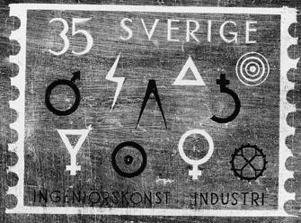 Frimärksförlaga till frimärket Ingenjörskonst och Industri, utgivet 27/5 1963. Övre raden från vänster: symboler för järn, elindustri, arkitektur, vattenkraft, bly, skogsindustri. Nedre raden: Svavel, guld, koppar, verkstadsindustri.  Originalteckningar utförda av konstnär Pierre Olofsson. (I Postmusei samlingar). Originalteckning 1) Lavering 21,5 x 27,5 cm (17 x 24). Valör 35 öre.