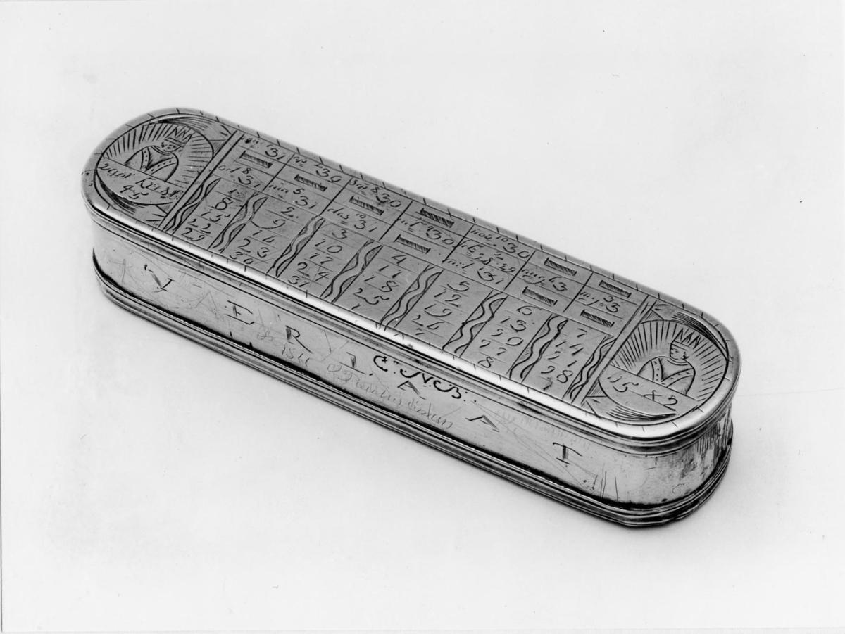 """Tobakslåda av mässing från 1781. Rektangulär med rundade hörn. På lockets översida är en evighetskalender ingraveriad under botten en distanstabell. På främre långsidan VERLAAT (lämna) och initialerna CNB. På andra långsidan DE WERELT (världen). Dosan kallas på engelska: """"Dutchman's log-timer"""". Utförd i mässing 1781, rektangulär med rundade hörn."""